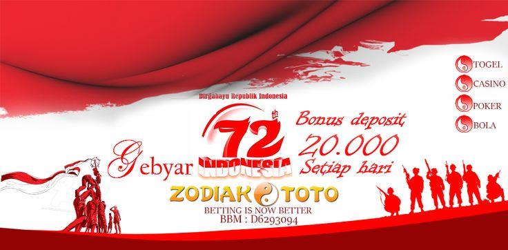 GEBYAR INDONESIA @ZODIAKTOTO  ( BONUS DEPOSIT 20.000 SETIAP HARI )  PROMO : ✪ GEBYAR INDONESIA ( BONUS DEPOSIT 20RB ) ✪ PROMO CASHBACK 5% + 5% ✪ PROMO BONUS NEW MEMBER (BONUS Deposit 10RB ) ✪ PROMO BONUS JACKPOT VARIASI ( Berhadiah 6jt ) ✪ EVENT LOMBA 2D 5 LINE 1 PUTARAN ✪ REFERRAL 1% TANPA BATAS DAN SEUMUR HIDUP  ✪ DISKON 29% 59% 66%  ✪ BBFS 7 DIGIT