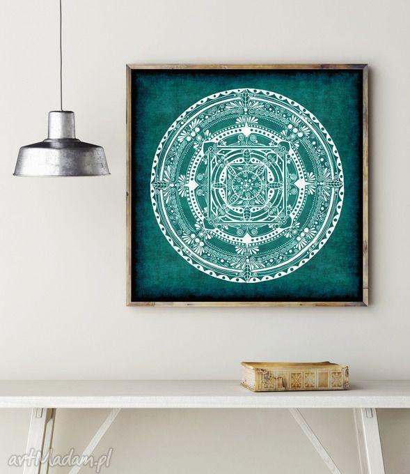 Mandala turkusowa grafika malgorzata domanska plakat rysunek