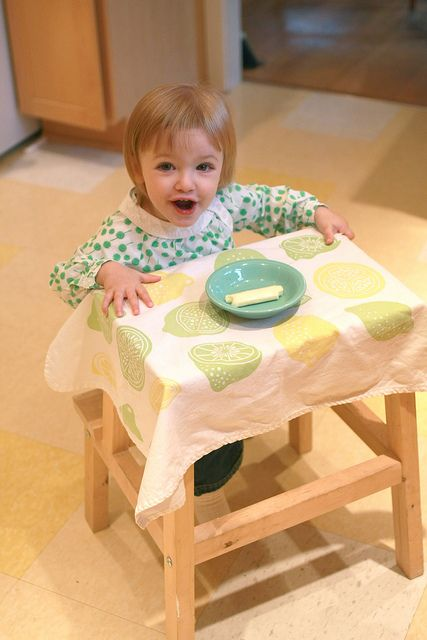 using an ikea step stool as a toddler table!