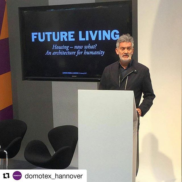 "Such an Inspirational session! #Repost via @domotex_hannover. ・ ・ ・ ""We're surrounded by high tech. Not just houses and vehicles can be smart, but floors too. In the future, they could convert our footsteps into energy"", says designer Alfredo Häberli.  #DOMOTEX #FutureLiving #Hannover #Germany #Flooring"