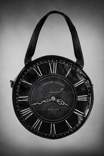 Black Clock SMALL Round Gothic Handbag by Restyle