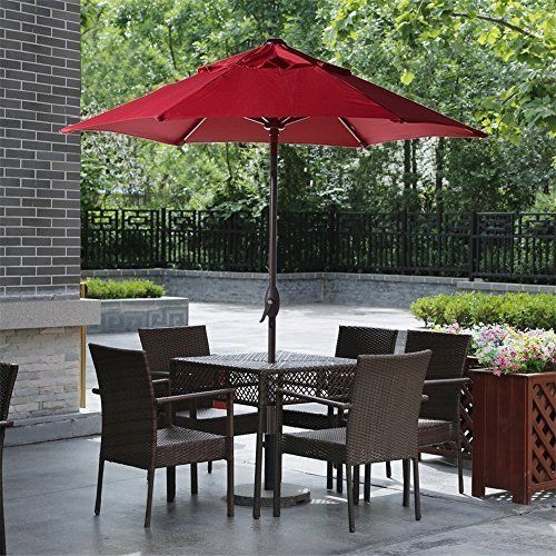 Patio Round Umbrella Garden Outdoor Canopy Pool Summer Relaxing With Crank New #PatioRoundUmbrellaGarden