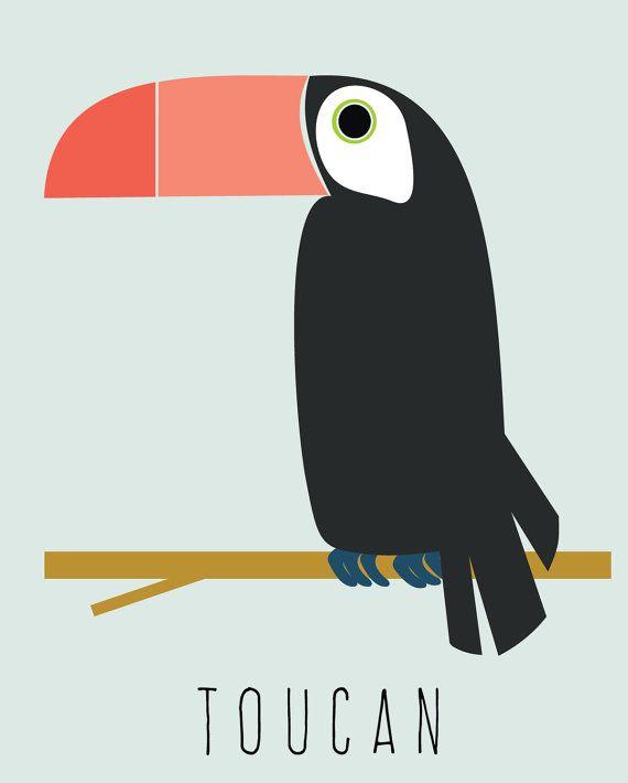 toucan illustration art print nursery art toddler by LeydaDesignCo
