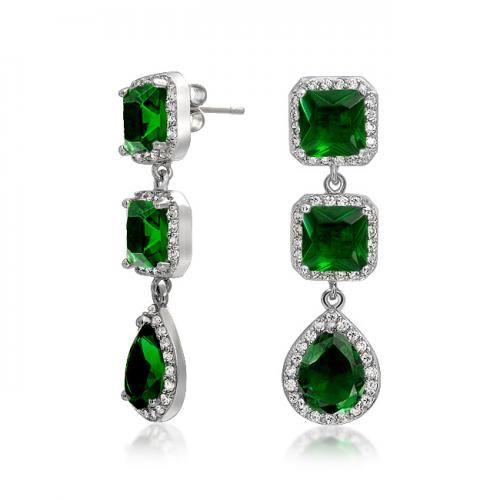 Green Emerald Color CZ Princess Cut Teardrop Chandelier Earrings