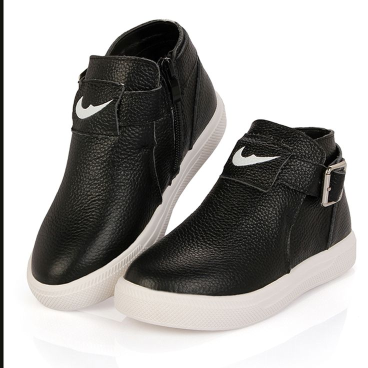 Find More Sneakers Information about black school shoes for boys white kids leather sneakers rubber sole casual autumn boots little girl footwear comfortable,High Quality Sneakers from Anna and King on Aliexpress.com