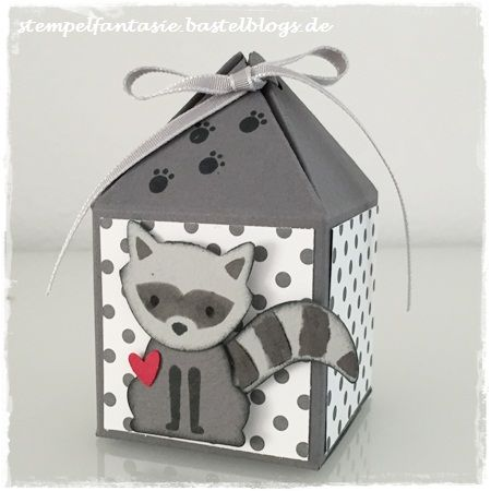 Stampin Up_Box mit Pyramidendeckel_Pretty Petal Box_Foxy Friends_Waschbaer_Fuchs Elementstanze_Punkte_Kinder_Stempelfantasie