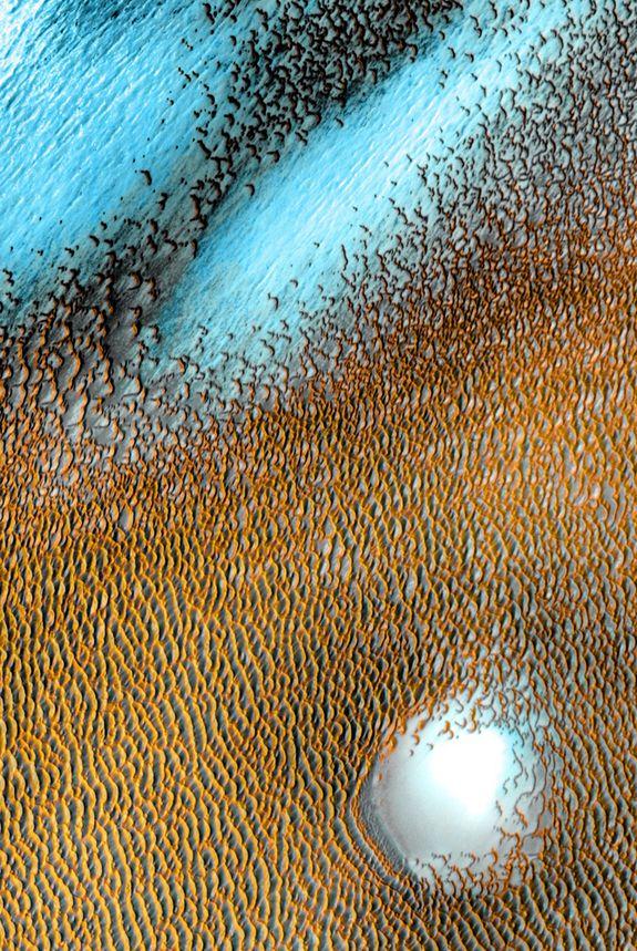 Mars Odyssey: Polar Dunes: NASA/JPL-Caltech/ASU A sea of dark dunes, sculpted by the wind into long lines, surrounds the northern polar cap covering an area as big as Texas.