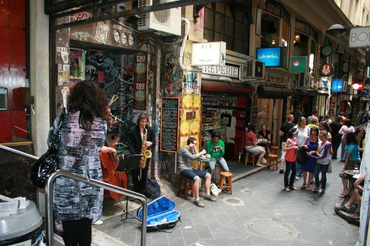 Melbourne Laneway example of mixed use, multi-level daytime activity