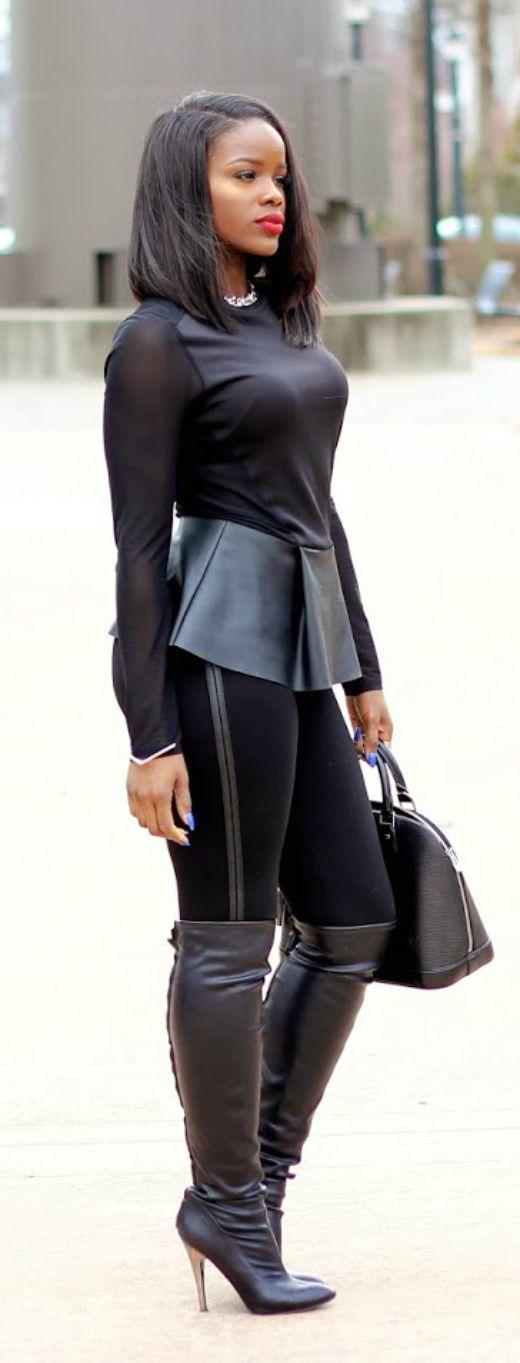 Leather Is The New Black Zara Top & Pants | Nine West Boots | H&M Jacket | BB Dakota Fur Vest | Louis Vuitton Alma Handbag Fashion Trend by Lover 4 Fashion