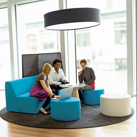 Yellow Alight Round Ottoman Modern Office Furniture
