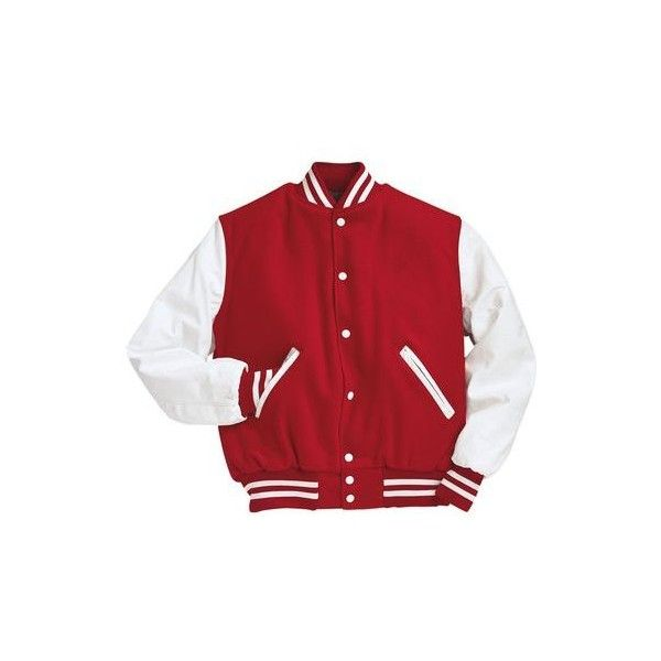 Scarlet Red and White Varsity Letterman Jacket ($200) ❤ liked on Polyvore featuring outerwear and jackets