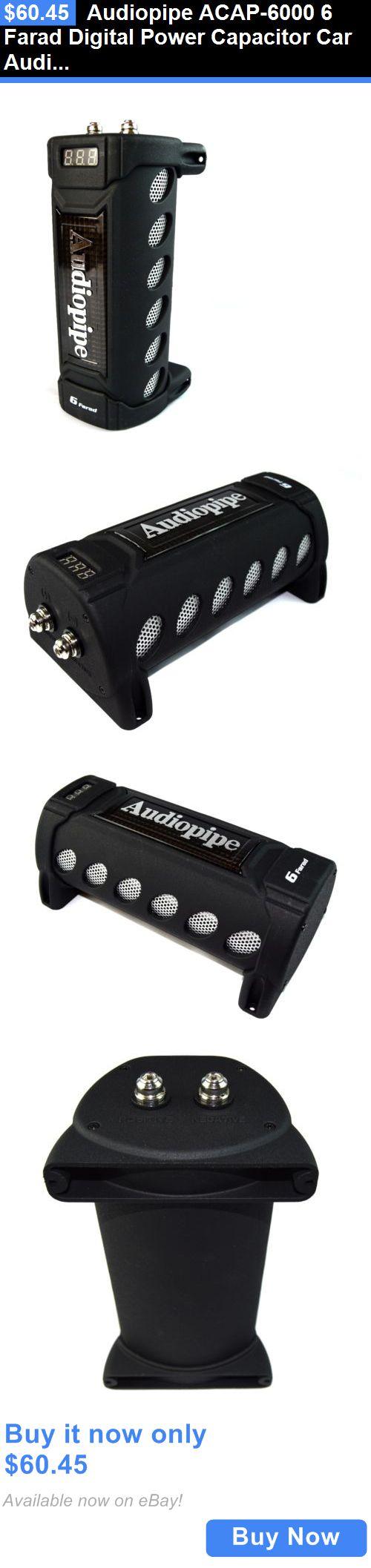 Capacitors: Audiopipe Acap-6000 6 Farad Digital Power Capacitor Car Audio Amplifier Cap BUY IT NOW ONLY: $60.45