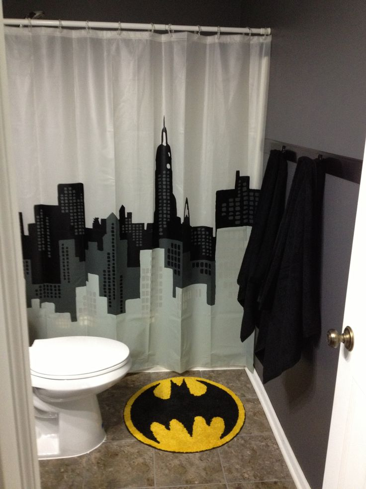 Batman bathroom that can be easily changed when the boys get older