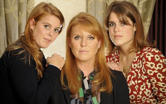 Pictured: (l-r) Princess Beatrice, Sarah Ferguson and Princess Eugenie    Photographer: Mike Lawn