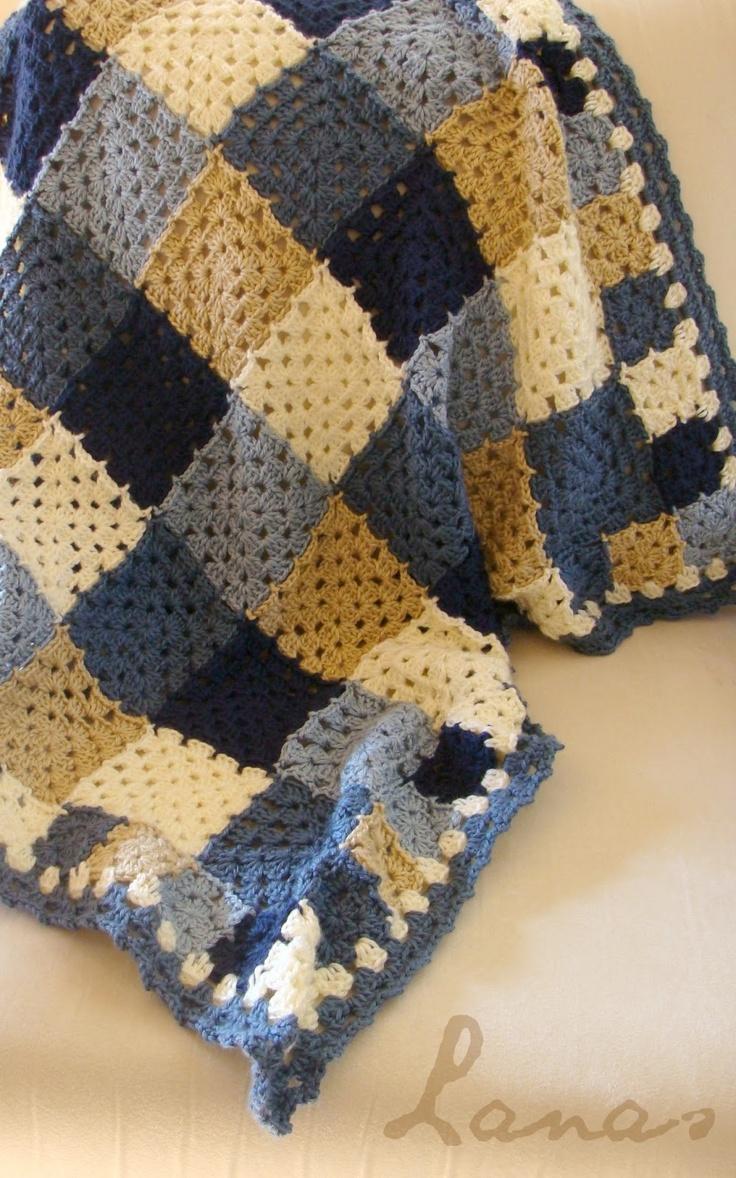 Oh Boy! Granny Blanket. Granny blanket with smaller square border #stashbuster #crochet