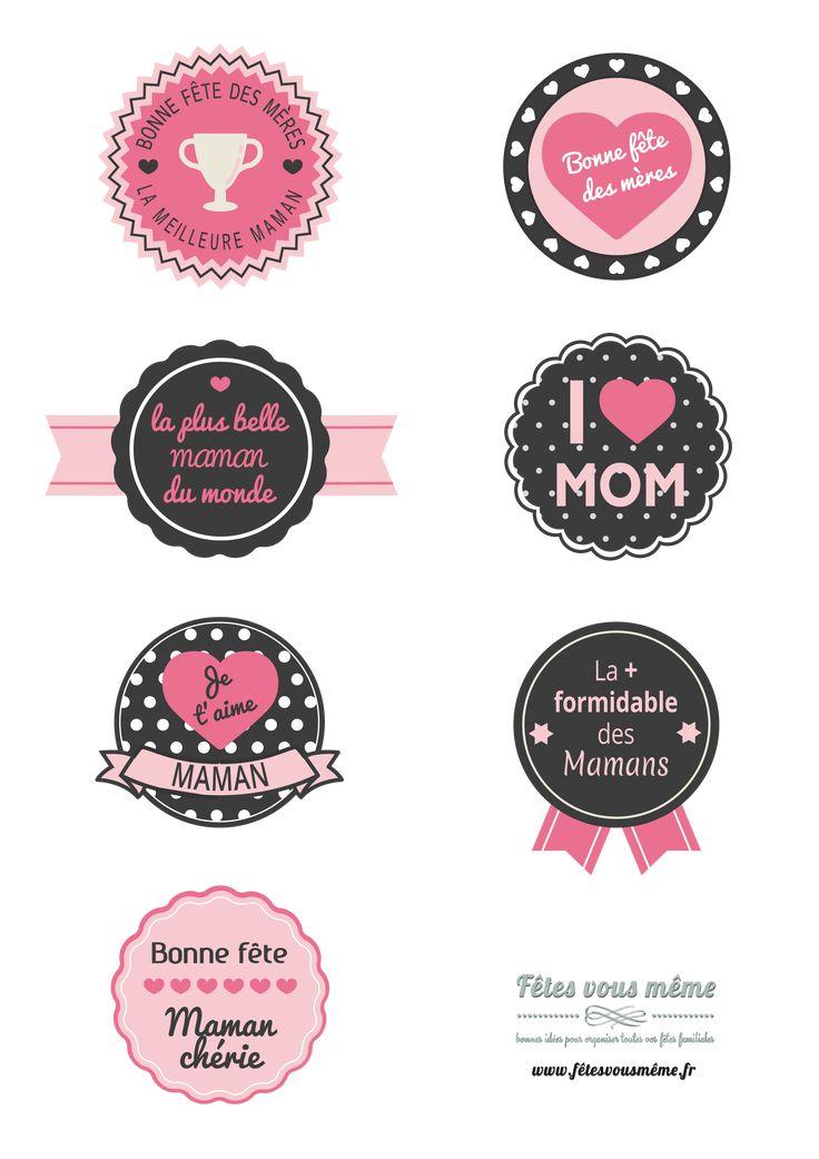 """Badges Fête des mères : Prêts à imprimer sur du papier autocollant, en un coup de ciseaux, ces petits badges trouveront leur place sur le """"coeur"""" d'une maman."""