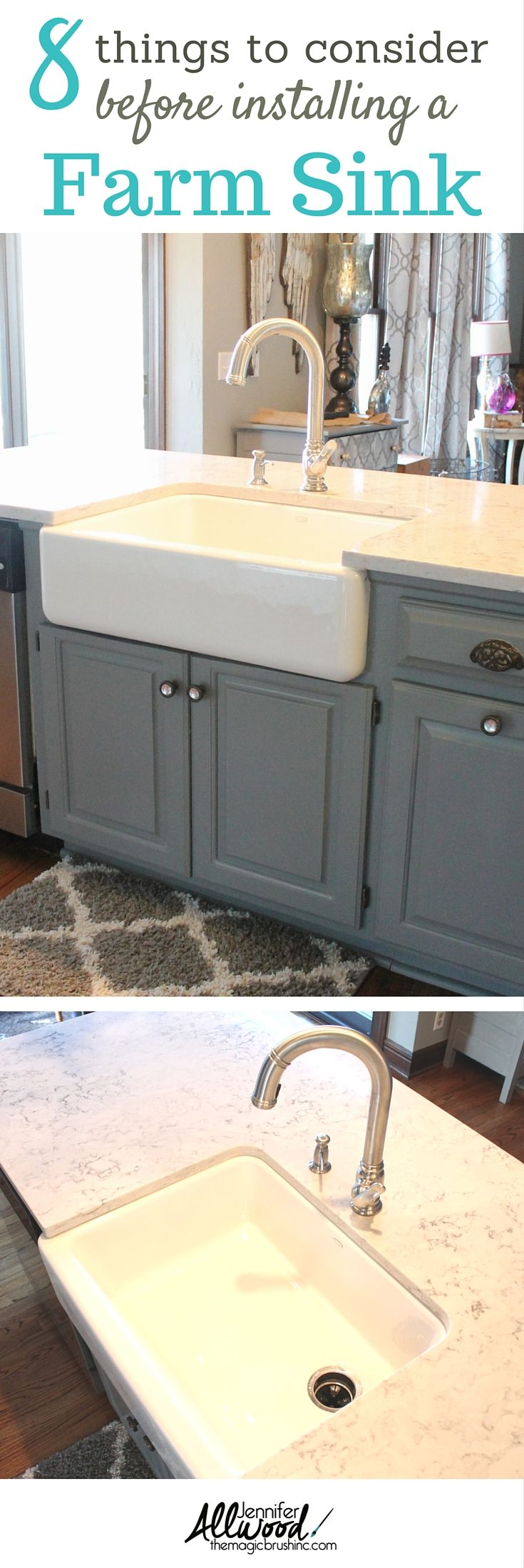 We recently updated our gray kitchen with a new farmhouse sink. We are obsessed with how it looks, but we learned so much through the process. There are 8 things YOU need to know before putting a farmhouse sink in your kitchen. More DIY at theMagicBrushinc.com