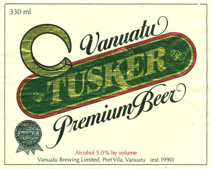 Vanuatu beer Tusker label