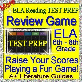 This is a Test Prep PowerPoint Jeopardy style review game for ELA Reading grades 6 - 8. This game is a fun way to prepare students for state and national tests.  It could be played by a single child, or as a whole class review (small groups). Helpful for: AIMS CST CAT CSAP FCAT SSI CRCT EOCT GHSGT GAA IES TERRA NOVA HSA ISAT ITBS ISAT IST CCSS CAS MEA MSA MCAS MEAP ELL MCAII MCT NESA NECAP NJASK PSSA NECAP PASS STEP TCAP TAKS SDAAII HSPE WESTEST WKCE WKCE PAWS LEAP AIMS CSAP FCAT NAEP ISAT…