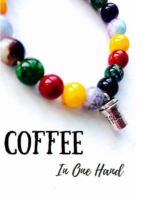 Coffee Cup Colourful Multicoloured Bead Charm Bracelet For Coffee Lovers!