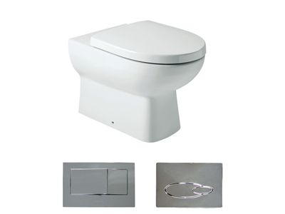 Panache® Wall Faced Toilet Suite  Features:    Choice of bevel or oval flush button panel  Dual flush (4.5/3L)  Back up shut-off valve located on cistern and accessible through the flush button panel  Box rim  In wall cistern - with support brackets  S-trap out (vario pann connector & collar): 90mm-110mm  P-trap set out: 185mm