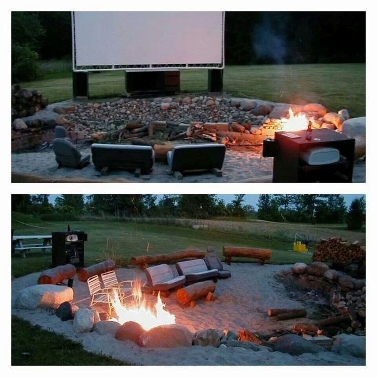 Backyard Fire Pit Movie Theater Let S Go Home