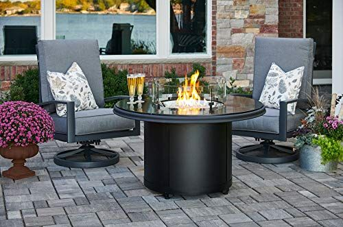 The Outdoor Greatroom Company Black Granite Beacon Chat Height Gas Fire Pit Table And Lyndale Swivel Rocking Chair Fire Pit Table Outdoor Fire Pit Gas Firepit