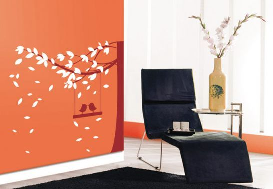 Wall Stickers - Tree with birds 2-colours Wall sticker