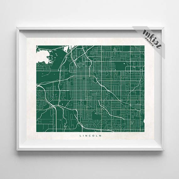 Lincoln Poster, Nebraska Print, Lincoln Print, Nebraska Poster, Wedding Gift, Office Wall Art, Dorm Decorations, Home Goods, Gift For Him, Wall Art. PRICES FROM $9.95. CLICK PHOTO FOR DETAILS. #inkistprints #map #streetmap #giftforher #homedecor #nursery #wallart #walldecor #poster #print #christmas #christmasgift #weddinggift #nurserydecor #mothersdaygift #fathersdaygift #babygift #valentinesdaygift #dorm #decor #livingroom #bedroom