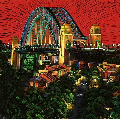 A painting of the Sydney Harbour Bridge from The Rocks