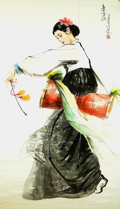"""북한 공훈과 인민예술가 """"김성민"""" 그림『금강산 풍경』. 1949년 평양시 대성구역 룡남동에서 출생하여 미술 신동에서 관록있는 화가로 대성고등화학전문학교 졸업하고 만수대창작사 조선화"""