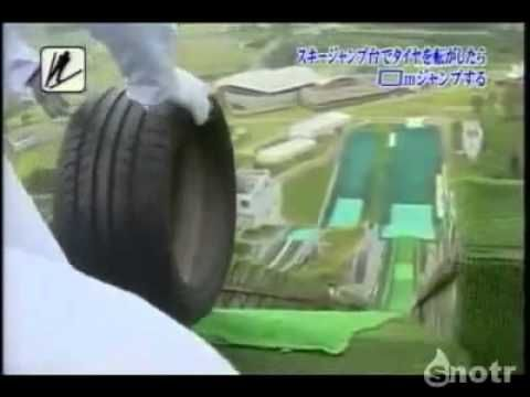Which tire will roll down the ski jump fastest and jump the farthest? A Formula One tire? An enormous bulldozer tire? The smallest tire? This clip from Japanese television is scientifically interesting and totally hilarious.