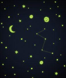 ceu estrelado. adesivo de parede ou teto que acende no escuro com diversas estrelas. Criado por Leo Conrado.