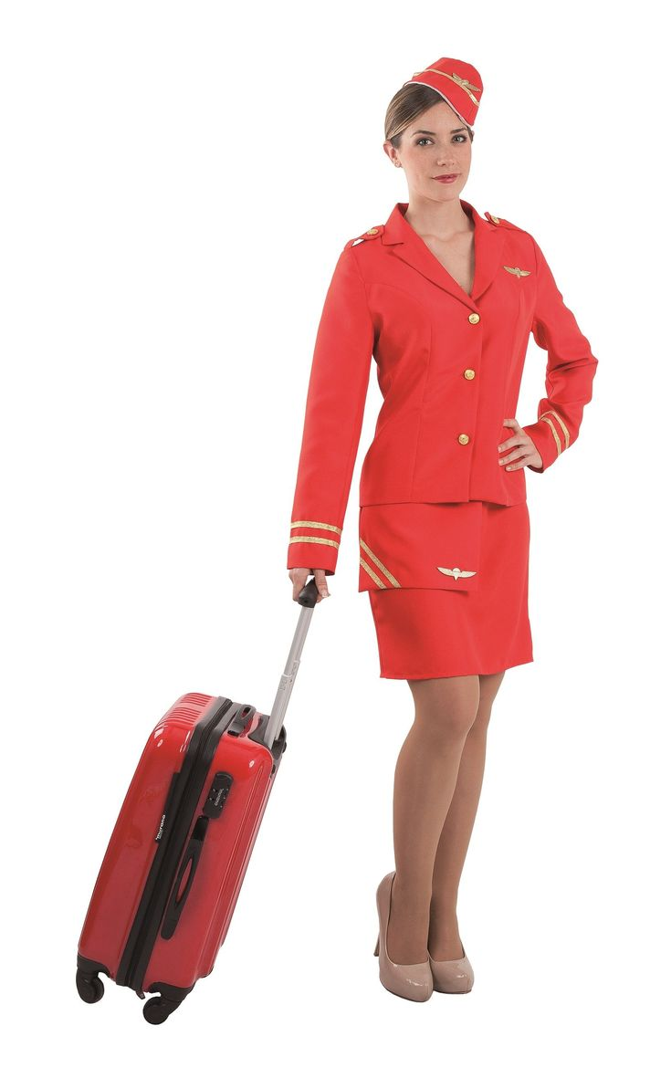 Disfraz de azafata de vuelo color rojo para mujer