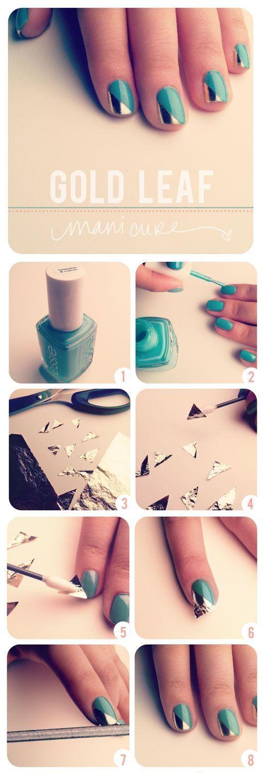 Gold leaf nail art diy nail art cute nails easy diy diy nails diy nail art gold nails