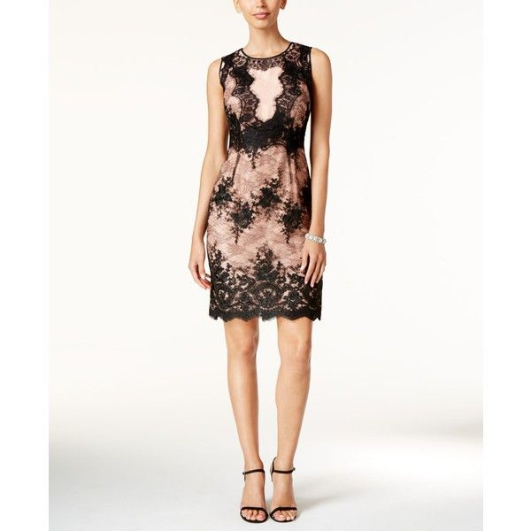 Ivanka Trump Floral Lace Sheath Dress ($168) ❤ liked on Polyvore featuring  dresses,