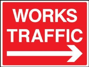 Works traffic - right arrow safety sign
