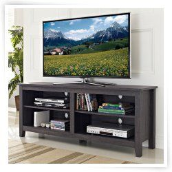 Walker Edison 58 in. Wood TV Stand - Charcoal Gray