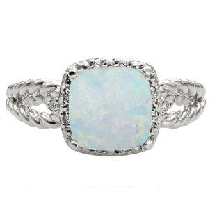 Cushion Cut Opal October Gemstone White Gold Diamond Braided Ring Available Exclusively at Gemologica.com