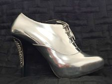 $1900 JIMMY CHOO Size 40 Stay Silver Mirror Leather Boots NEW Authentic Shoes
