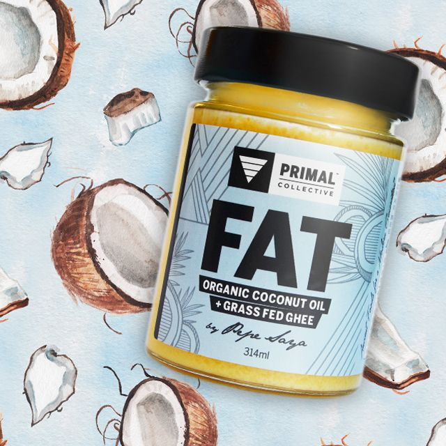 FAT = Organic Coconut Oil and Grass Fed Ghee packaging design by Atelier 1000 Words.