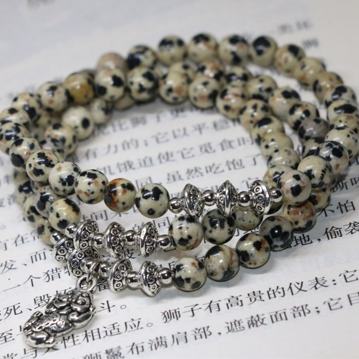 Free shipping natural dalmation multilayer bracelets 6mm round beads semi-precious stone elastic strand fashion jewelry B2232