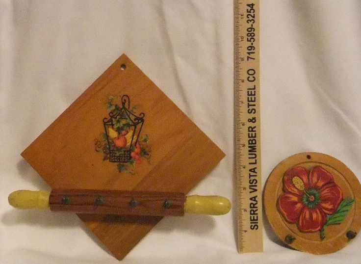 Set of two Handmade Wooden Key or Pot Holders Rolling Pin Tropical Flower #Handmade