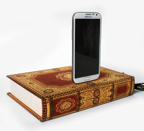 Samsung Galaxy S4, S3, Note 2 Charger India Inspired Sari Red and Gold, Book Box, Android Docking Station