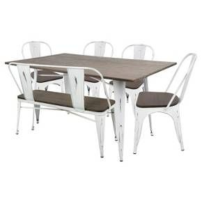 Create your ideal, stylish mealtime setting with ease when you outfit your dining room with the Oregon Industrial Farmhouse Dining Set from LumiSource. The sleek metal and wood construction of this set adds the perfect mix of industrial and farmhouse styles to the rectangular table, four chairs and bench. With a cohesive look like this, you'll be ready to enjoy all of your meals in comfort.