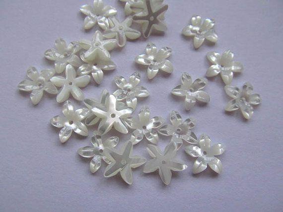 Сс раковина мать жемчуг florial цветы лепесток чаша белое cabochons бусины 6 мм 24 шт.