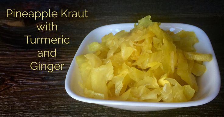 Keep your gut healthy with this delicious pineapple sauerkraut recipe with the added benefits of ginger and turmeric.