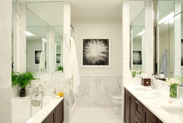 Marble with modern chair rail and inset mirror