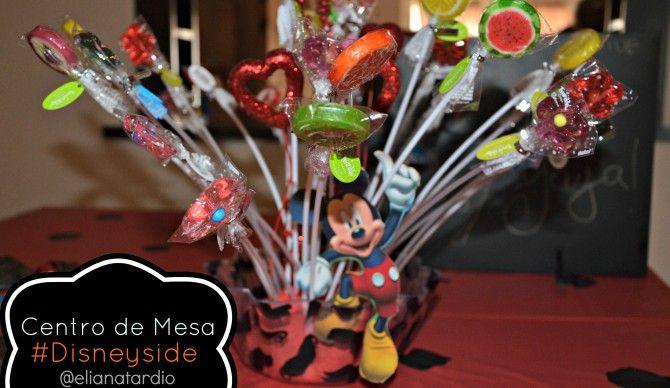 Centro de Mesa Mickey Mouse para paletas dulces.