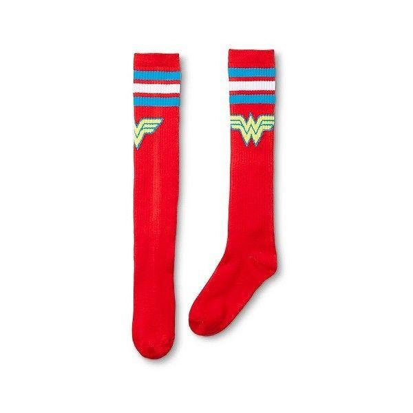 Wonder Woman Women's Varsity Knee High Sock Red ($6.39) ❤ liked on Polyvore